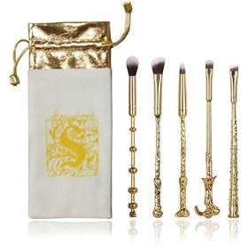 Dilla Beauty 5本セットメイクブラシハリーポッター ハンドル アイシャドウブラシ セット 人気 ウィザード アイブロウブラシ ナイロン 金属製 化粧ポーチ付き (ゴールド)
