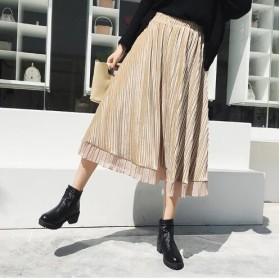 【送料無料】光沢ベロア裾シフォン フレアスカート ボリュームプリーツスカート