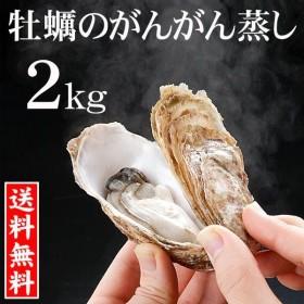 (送料無料)牡蠣のがんがん蒸し 2kg前後(中型)殻付き 生牡蠣 生食 北海道産 お土産 お取り寄せ グルメ カキ