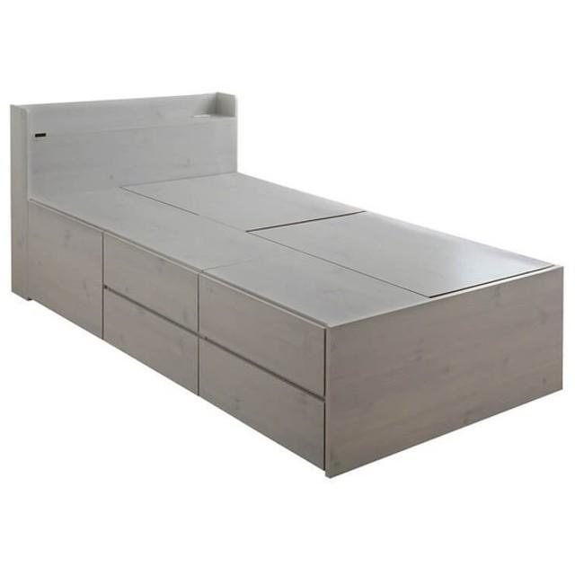 VICE(ヴィース) 収納付きベッド(収納3分割/ハイタイプ)ホワイト VICE100S-WH