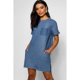 ドレス デニム レディース【Boohoo Slouch Pocket Denim Dress】mid blue