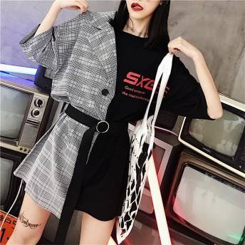 【春夏新品発売】韓国ファッション 縫付 格柄 Tシャツ 格子縞 ワンビース 折り襟