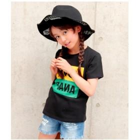【50%OFF】 アナップキッズ 配色BOXロゴTシャツ レディース ブラック 100 【ANAP KIDS】 【セール開催中】
