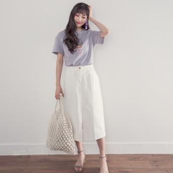 スカート ロング ロングスカート ホワイト ベージュ ブルー 白 青 大人雰囲気 レディース レディースファッション UBASIC ユーベーシック