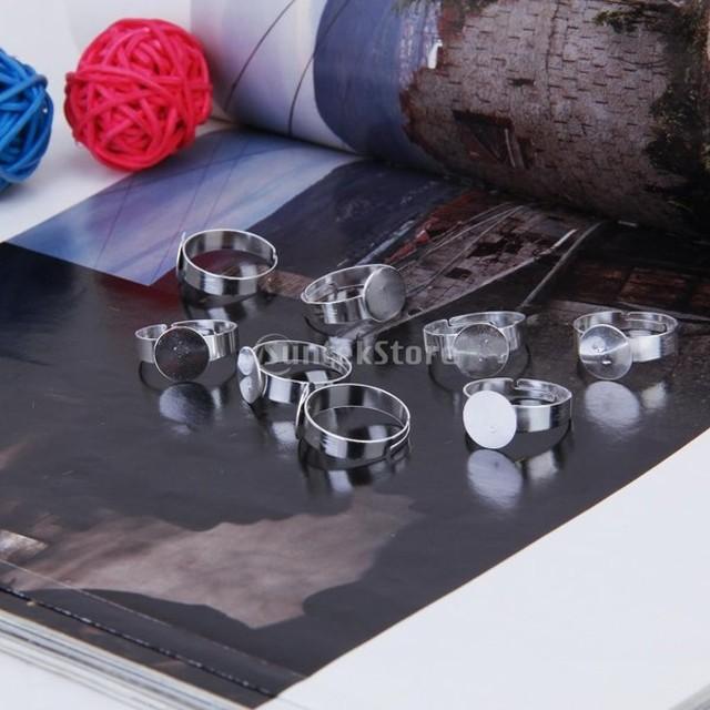 指輪 リング 銀 調節可能なリング  10mmのパッド付き 20個