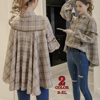 2color☆S~XLサイズ☆後姿がポイント☆グレンチェックシャツブラウス 韓国ファッション