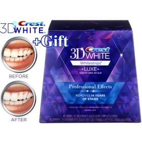 【安心米国製】白い歯♪ 歯に貼るシート♪20日で効果を実感♪ Crest 3D White クレスト 3Dホワイトストリップス LUXE プロフェッショナル・エフェクト 20回分