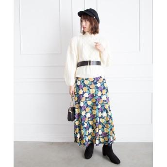 ひざ丈スカート - Libby & Rose ROSE柄マーメイドスカート