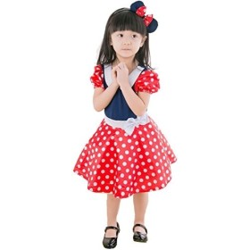子供 コスプレ 衣装 ミニー マウス コスチューム ワンピース カチューシャ 2点セット M 100-120cm