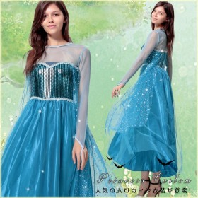 ハロウィン衣装 コスプレ衣装 アナと雪の女王 エルサ 風 仮装 ロングドレス 大人気 一押し プリンセス 2点セット クイーン メタリック