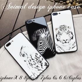 【送料無料】iphoneケース iphone8 iphone8plus iphoneX iphone6s iphone6plus スマホケース アイフォン アニマル 動物 ガラス ミラー