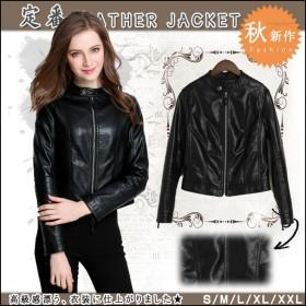 レディス服 女性 アウター コート 上着 ジャケット オーバー スタジャン ファッション 韓国風 シンプル ロック ノーカラー ブラック ベーシック 本革風 丸首