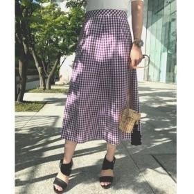 aquagirl / アクアガール 【洗える】ギンガムチェックミディ丈スカート