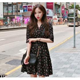 韓国ファッション ワンピース 花柄 レディース オルチャン シャツ ワンピ 五分 半袖 春夏