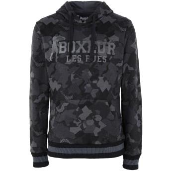 《9/20まで! 限定セール開催中》BOXEUR DES RUES メンズ スウェットシャツ ブラック S コットン 80% / ポリエステル 20% HOODIE WITH ALLOVER CAMOU AND 3D FRONT LOGO