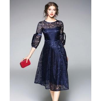 パーティードレス 花柄レースのラウンドネック スリムシンプル リボンがかわいい☆ ロングスカートイブニングドレス☆エレガント 大人 上品 かわいい 清楚 きれい 結婚式二次会 お呼ばれ 2018年新作