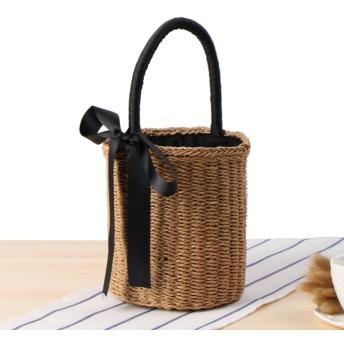 バケツ型 ストローバッグ ショルダーバッグ かごバッグ リボントートバッグ かばん レディース 韓国 籠バッグ サマーバッグ ビーチバッグ