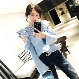 [55555SHOP]韓国ファッション通販業界1位★ 2018秋ファッション ラウンドネック コーディネート自在 ニット 長袖