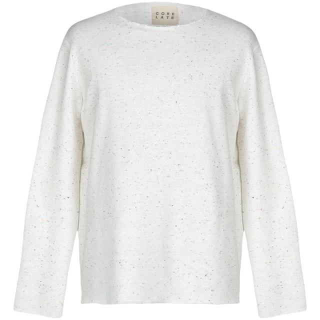 《9/20まで! 限定セール開催中》CORELATE メンズ スウェットシャツ ホワイト S コットン 100%