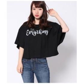 【55%OFF】 ファクターイコール ロゴワイド切替Tシャツ レディース ブラック F 【Factor=】 【セール開催中】