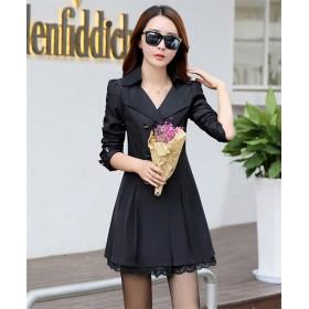 [55555SHOP]2018年春と秋の韓国語バージョンの長いセクションで新しい威厳のある女性スリム薄いジャケットコート
