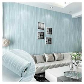 DIY 3D立体 壁紙 不織布 のりなし シンプルなストライプ 壁紙シール 月光の森 おしゃれ ベッドルーム リビングルームの背景 55cmx10m [ライトブルー] [ARUHE]