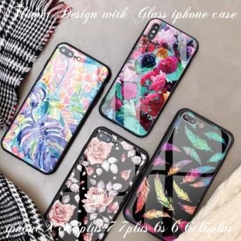 iphoneケース iphonex 8 8plus 7 7plus 6s 6 6splus 6plus スマホケース ソフト 強化ガラス きらきら 大人可愛い 花柄 ボタニカル リーフ 植物