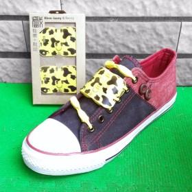 「アニマルプリントの基本モデル ショー+靴ひも - 乳牛パターン卵黄 ] [シリコーン材料
