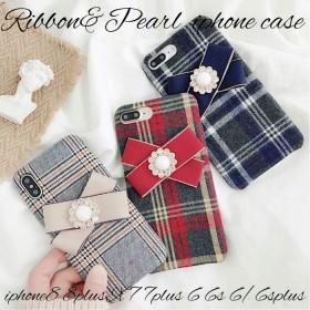 iphoneケース iphone8 8plus iphoneX 7 7plus 6s 6 6splus 6plus スマホケース リボン パール チェック柄 大人可愛い かわいい 上品 女の子