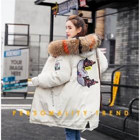 [55555SHOP]モッズコート レディース 中綿ジャケット 中綿コート コート ミディアム丈 フード付き ボリュームファー フェイクファー 厚手 アウター 防寒 ゆったり 秋冬新作