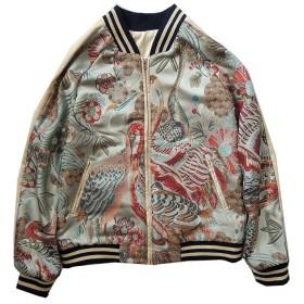 男女兼用 孔雀刺繍マーク スカジャン ジャケット 横須賀ファッション サイズXS~L 野球服