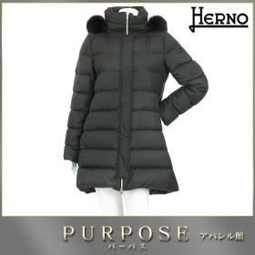 ヘルノ HERNO ダウン コート アウター 中綿 ロング ZIP ファー フード付き ブラック サイズ 44 レディース