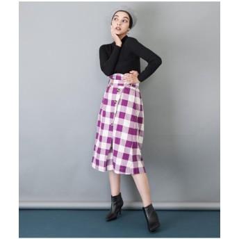 Alluge ブロックチェックベルトデザインスカート