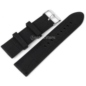 時計バンド 交換ベルト 腕時計ストラップ シリコーン 防水 24mm ブラック