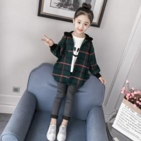 チェックジャケット 女の子 長袖 女児 お出かけ フード付き 通学通園 スプリングコート ジップアップパーカー ブルゾン 防風 普段着 韓国