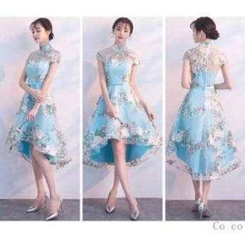 パーティードレス 結婚式 ドレス ロングドレス チャイナドレス 卒業式 フレアAライン 前下がり お呼ばれドレス ドレス 演奏会 パーティー