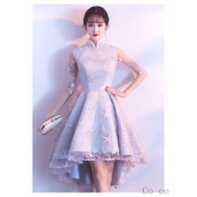 パーティードレス 結婚式 ドレス お呼ばれドレス ウェディングドレス 袖あり 成人式 卒業式 披露宴 二次会 パーティドレス 同窓会 ドレス