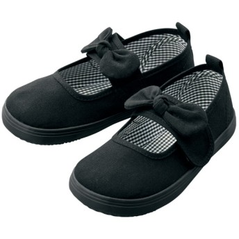 【格安-子供用靴】キッズ幅広面ファスナーリボン付バレエタイプカジュアルスニーカー