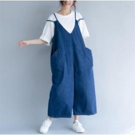 ワンピース サロペット レディース ジャンパースカート 大きいサイズ 代 30代 デニム サロペット 体型カバー 20代 ワイドパンツ