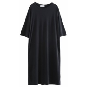 女性着 膝下丈 体型カバー ゆったり カジュアル 黒 ロングワンピース 着痩せ 半袖チュニック