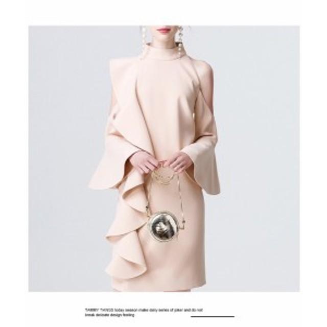 オープンショルダー ワンショルダードレス 結婚式 半袖 お呼ばれドレス ワンピース パーティードレス 二次会 結婚式ドレス