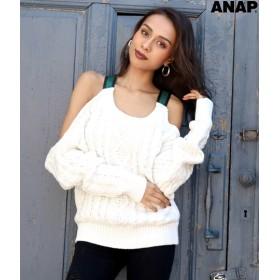 【セール開催中】ANAP(アナップ)ラインテープバックオープンニットトップス