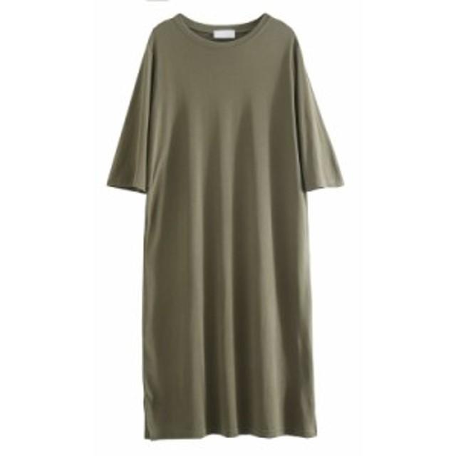 女性着 膝下丈 体型カバー 半袖チュニック ゆったり ロングワンピース 着痩せ 緑 カジュアル