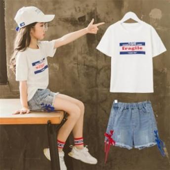 韓国 子供服 キッズ キッズ 上下セット パンツ 女の子 春夏 ハッフパンツ 半袖 セーラー服 Tシャツ デニム デニム 子供Tシャツ セット 女