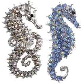 ブローチピン ラインストーン飾り 魅力 海馬型デザイン 可愛い シルバー ブルー 装飾 2個セット