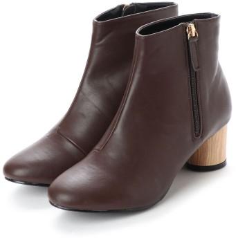 ジーラ GeeRA ラウンドヒールジッパー付ブーツ (ブラウン)