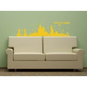 Smart Design ウォールステッカー 世界の町 黄色 ノリ跡が残らない 壁飾りシール 送料込