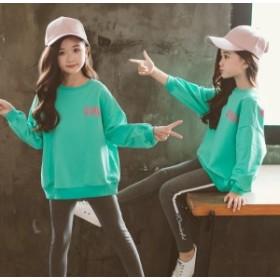 韓国子供服 パーカー 女の子 こども 入園式 結婚式 字母柄 キッズ 通園 トップス ジュニア Tシャツ ゆったり 無地 女児 プルオーバー 長