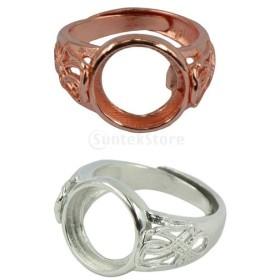 真ちゅう製 DIY アクセサリー 調整可能 部品 指輪 手作り シルバー+ローズゴールド 2個入り