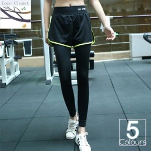 3a3656a1db5 レギンス付きショートパンツ レディース フィットネス パンツ ジム ウェア ヨガウェア ランニング スポーツウェア トレーニングウェア ウ